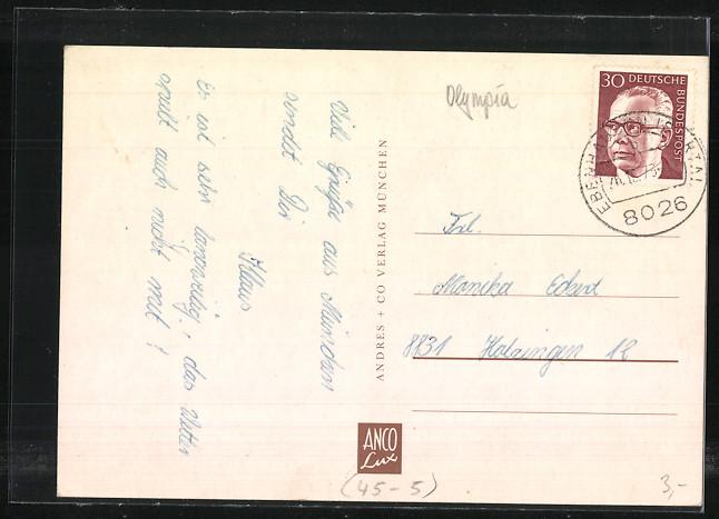 AK München, Olympiade 1972, Olympiaturm, Gelände, Wappen und Kirchen 1