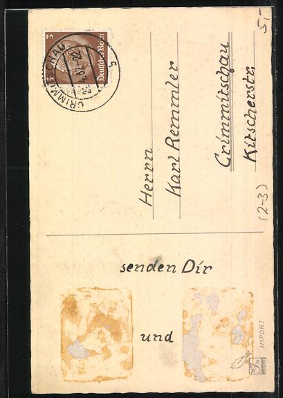 Präge-AK Der Postbote bringt einen Brief zum Geburtstag 1