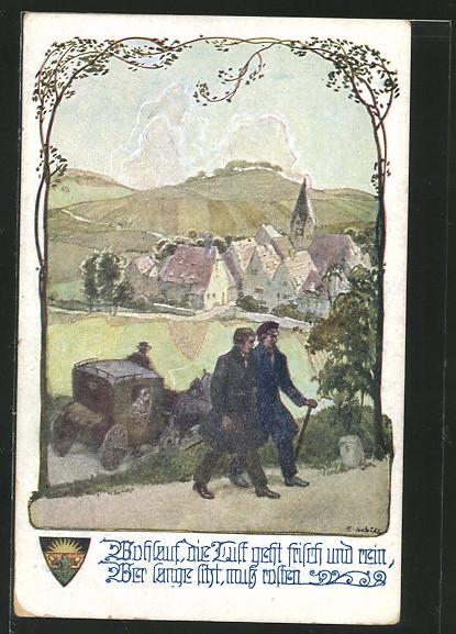 AK Deutscher Schulverein NR: 916, zwei Wanderer passieren eine Kutsche auf ihrer Wanderschaft 0