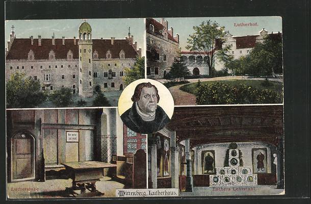 AK Wittenberg, Lutherhof, Luthers Lehrstuhl, Lutherstube, Lutherhaus, Porträt 0