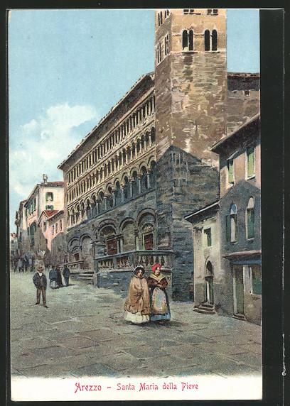 Lithographie Arezzo, Santa Maria della Pieve 0