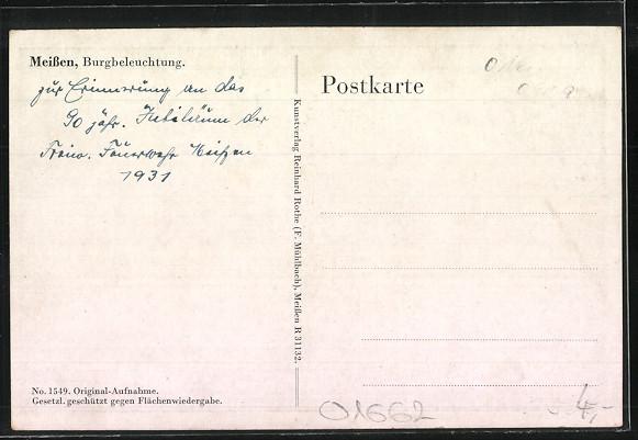 AK Meissen, Albrechtsburg während der Beleuchtung 1