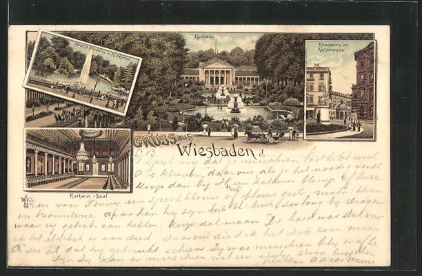 Lithographie Wiesbaden, Kurhaus, Kranzplatz mit Kochbrunnen,Kurhaus-Saal 0