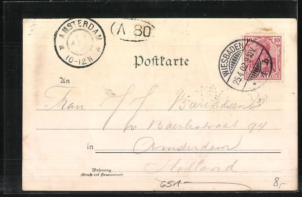 Lithographie Wiesbaden, Kurhaus, Kranzplatz mit Kochbrunnen,Kurhaus-Saal 1