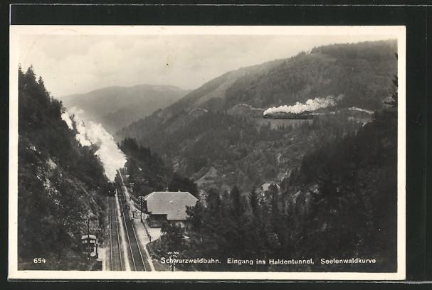 AK Triberg, Schwarzwaldbahn, Eingang ins Haldentunnel, Seelenwaldkurve 0