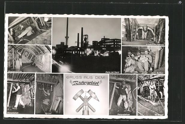 AK Zeche im Ruhrgebiet, Einblick Kumpel bei verschiedenen Arbeiten 0