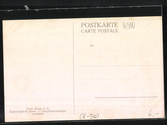 Künstler-AK Essen, Gussstahlfabrik Krupp AG, Fabrikarbeiter in der Panzerbearbeitungswerkstatt 1