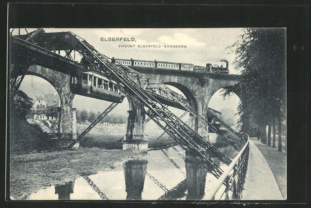 AK Elberfeld, Viadukt Elberfeld - Sonnborn mit Schwebebahn 0