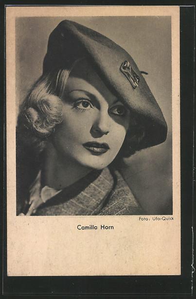 AK Schauspielerin Camilla Horn mit Mütze posierend 0