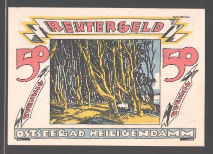 Notgeld Heiligendamm, 1922, 50 Pfennig, Ostseebad, Frau reitet Fisch, Waldpartie 0