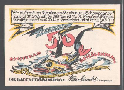 Notgeld Heiligendamm, 1922, 50 Pfennig, Ostseebad, Frau reitet Fisch, Waldpartie 1