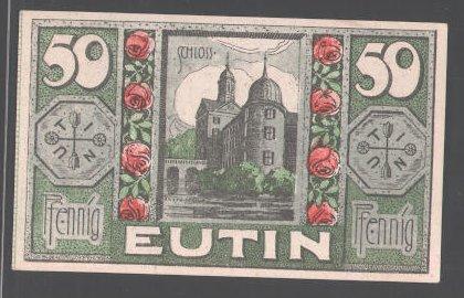 Notgeld Eutin, 1920, 50 Pfennig, Schloss, Rosenblüten, Stadtwappen 0