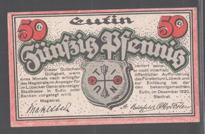 Notgeld Eutin, 1920, 50 Pfennig, Schloss, Rosenblüten, Stadtwappen 1