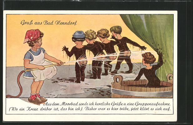 AK Bad Nenndorf, Moorbadszene als Zeichnung 0