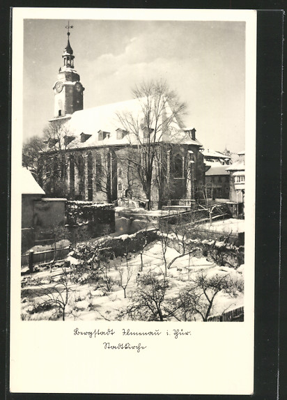 AK Ilmenau, Stadtkirche im Winter 0