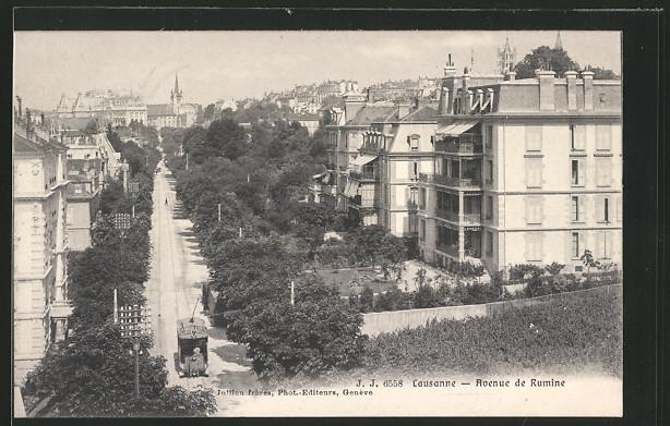 AK Lausanne, Avenue de Rumine mit Strassenbahn 0