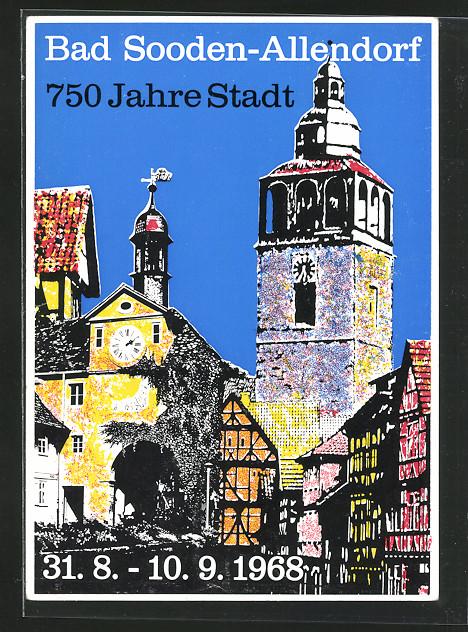 Künstler-AK Bad Sooden-Allendorf, 750 Jahre Stadt Bad Sooden-Allendorf, Altstadtmotiv 0