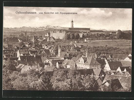 AK Ochsenhausen, Nord-Ost-Ansicht m. Alpenpanorama 0