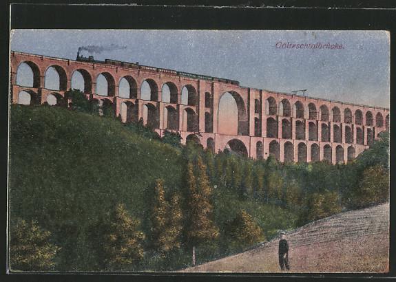 AK Mylau, Eisenbahn auf der Göltzschtalbrücke 0
