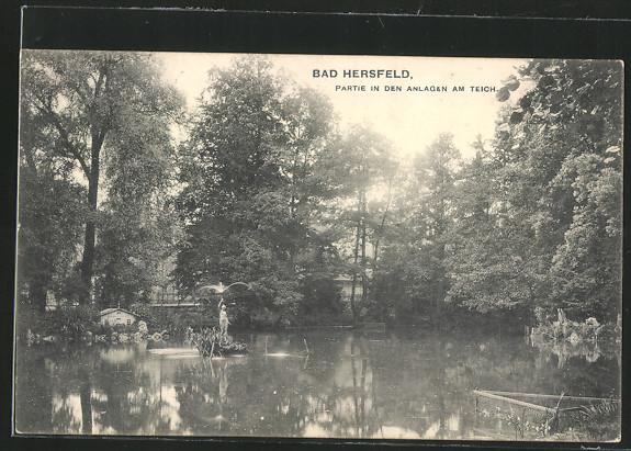 AK Bad Hersfeld, Partie in den Anlagen am Teich 0