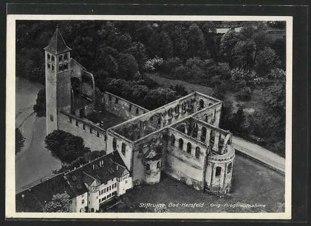 AK Bad Hersfeld, Stiftsruine, Fliegeraufnahme 0