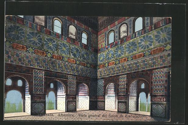 AK Granada, Alhambra, Vista general del Salon de Embajadores 0