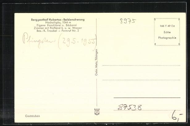 AK Balderschwang, Berggasthof Hubertus, Bes. K. Traubel, Speisezimmer 1