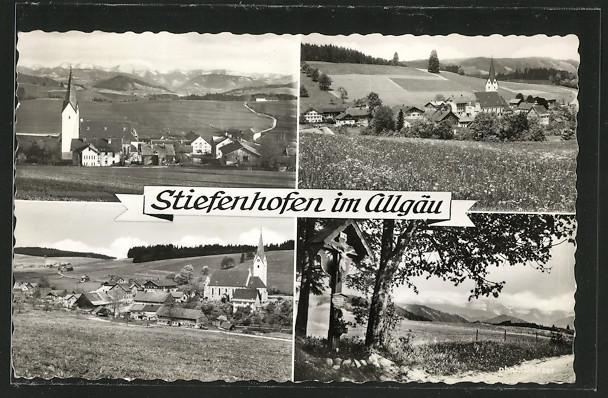 AK Stiefenhofen, Ortsansicht, Jesuskreuz und Allgäuer Alpen 0
