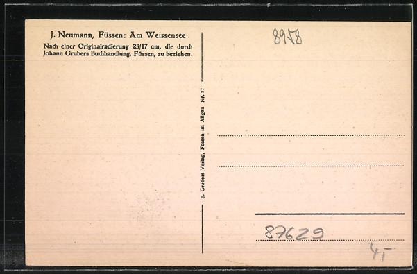Künstler-AK Füssen, Partie am Weissensee 1