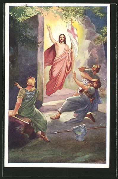 Künstler-AK Ostern, Jesus kommt aus seinem Grab, bewaffnete Leute erschrecken sich 0
