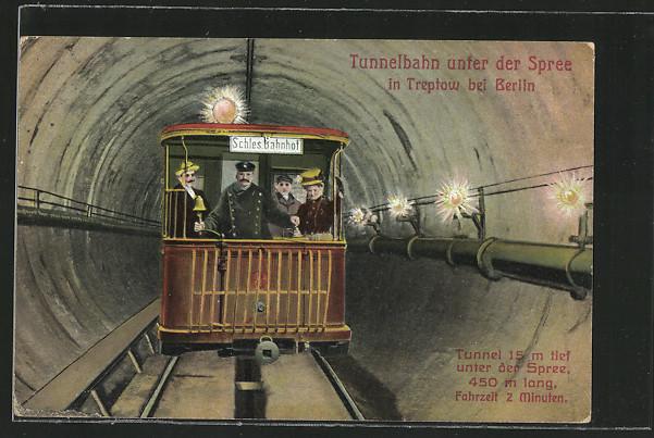 AK Berlin-Treptow, Tunnelbahn unter der Spree 0