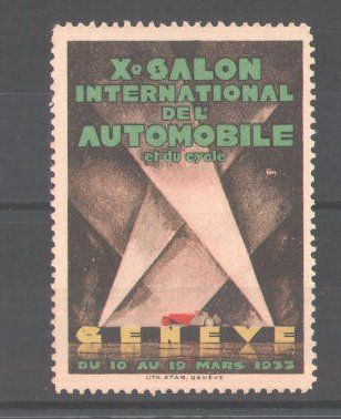 Reklamemarke Xe Salon International de L\'Automobile  et du Cycle Geneve 1923, Automobil im Schweinwerfer 0