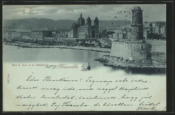 Mondschein-AK Marseille, Fort S. Jean et la Cathedrale 0