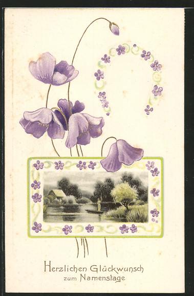 Präge-AK Namenstag, Landschaft mit kleinem See, Hufeisen und blauen Blumen 0