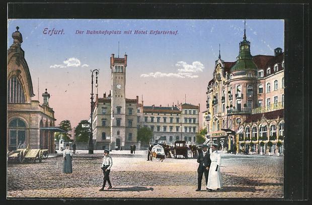 AK Erfurt, Bahnhofsplatz mit Hotel Erfurterhof 0