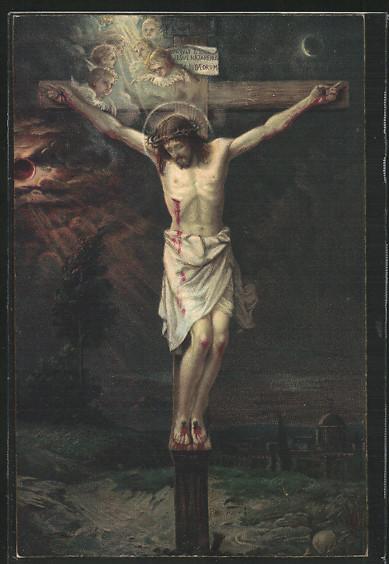 AK Jesus am Kreuz mit seinen Wunden auf dem Hügel Golgata vor Jerusalem 0
