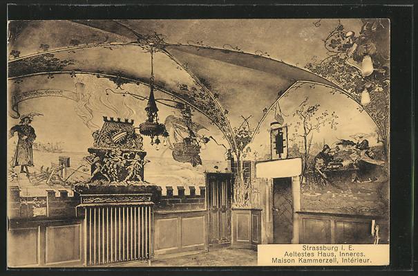 AK Strasbourg, Maison Kammerzell von H. Ganter, Restaurant Stiftskeller, Interieur 0