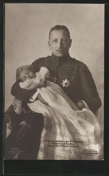 AK Prinz Joachim von Preussen mit Söhnchen Prinz Karl Franz Joseph 0