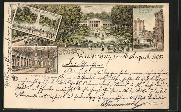 Vorläufer-Lithographie Wiesbaden, Kranzplatz mit Kochbrunnen, Kurhaus, Kurhaus-Saal, Grosse Fontaine, 1895 0