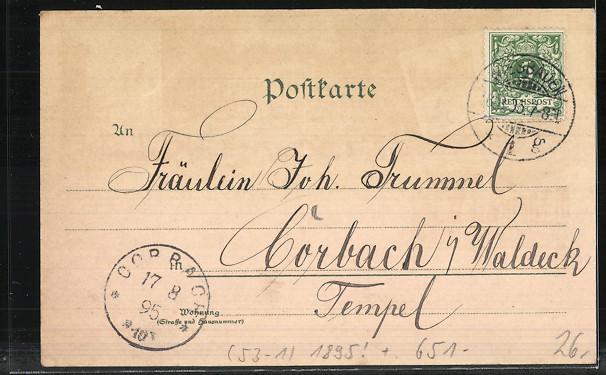 Vorläufer-Lithographie Wiesbaden, Kranzplatz mit Kochbrunnen, Kurhaus, Kurhaus-Saal, Grosse Fontaine, 1895 1