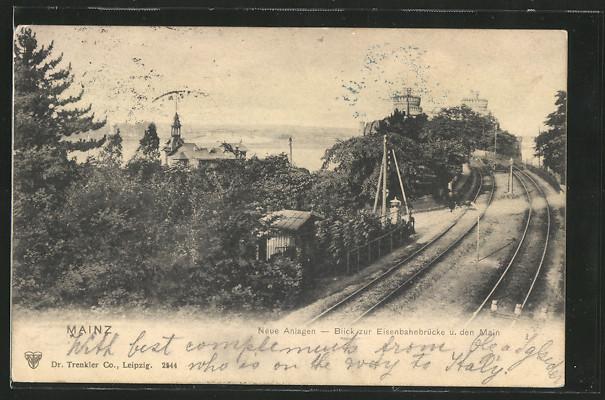 AK Mainz, Neue Anlagen mit Eisenbahnbrücke im Hintergrund 0