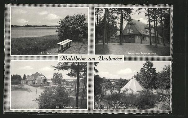 AK Langwedel, Waldheim am See, Johannes Iversenhaus, Karl Schröderhaus, Zelt 0