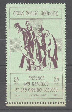 Reklamemarke Passage des Refugies et des Grands Blesses, Lausanne, 1915, Rotes Kreuz, Flüchtlinge im Gespräch, grün 0
