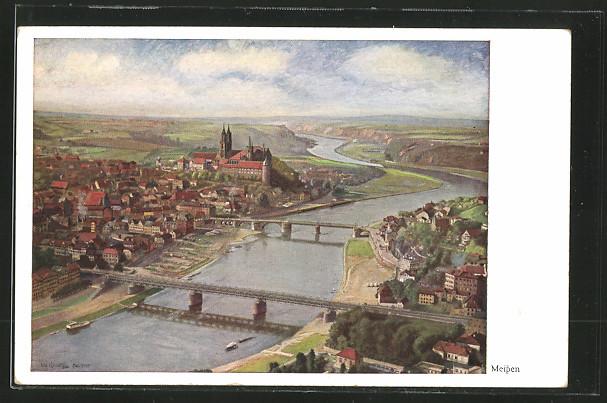 Künstler-AK Meissen, Stadtansicht mit Albrechtsburg 0