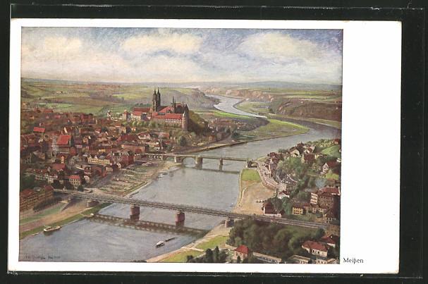 Künstler-AK Meissen, Blick auf die Stadt mit Albrechtsburg 0