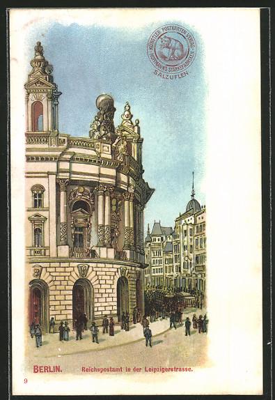 Lithographie Berlin, Leipzigerstrasse, Reichspostamt 0