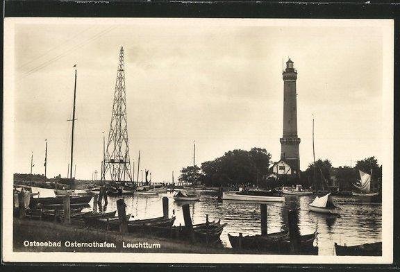 AK Osternothafen, Hafen mit Leuchtturm 0