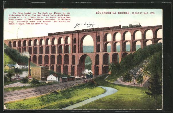 AK Netzschkau, Göltzschtal-Brücke mit Eisenbahn 0