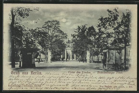 Mondschein-AK Berlin, Unter den Linden - Brandenburger Tor mit Trinkhalle 0