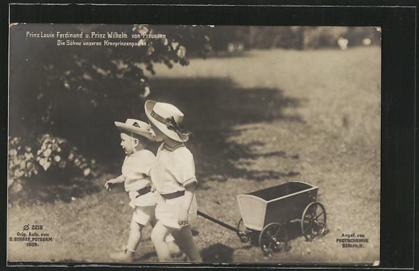 AK Prinz Louis Ferdinand und Prinz Wilhelm von Preussen ziehen einen Wagen hinter sich her 0